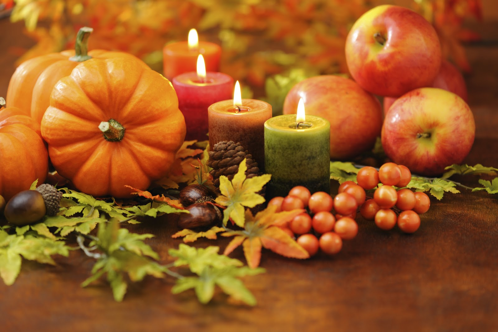 Gratitude, Fall candles, pumpkins, apples,